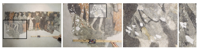 Zooming in on a damaged part of the fresco