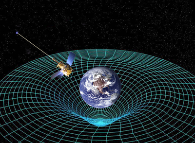 A planet warping spacetime