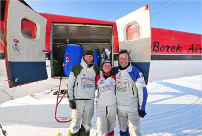 From left to right: Martin Hartley, Ann Daniels, and Pen Hadow, the Arctic Survey ice team.