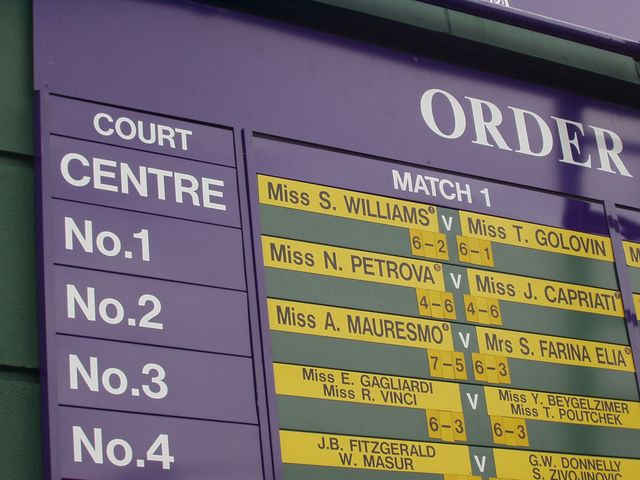 Order of play notice at Wimbledon, 2004