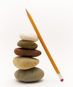 Pebbles and pencil
