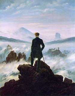 <i>The wanderer above the sea of fog</i> by Caspar David Friedrich.