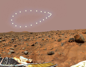 The Martian analemma. Image © <a href='http://dennismammana.com'>Dennis Mammana</a>, used by permission.