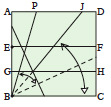 <div style='width: 121px;'>Fold along the crease that runs to<br> point J, extending it to point B. Fold the bottom edge BC up to line BJ and unfold.</div>