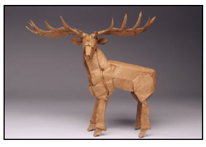 <i>Irish elk</i> made from one uncut square of Korean hanji paper. Size: 9 inches. Image courtesy <a href='http://www.langorigami.com'>Robert J. Lang</a>.