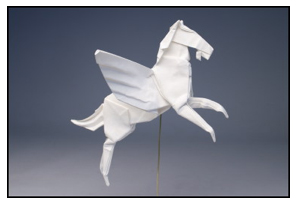<i>Pegasus</i> made by Robert J. Lang from one uncut square of Korean hanji paper. Size: 7 inches. Image courtesy <a href='http://www.langorigami.com'> Robert J. Lang</a>.