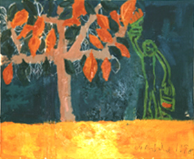"""Painting Trees"", Mixed media and oil on canvas. Copyright: David Ruddock, March 1998."