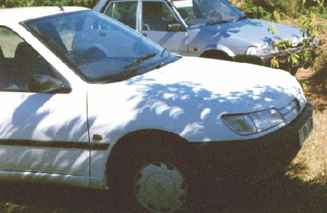 Pinhole images on a car during the 1998 eclipse in Guadeloupe.