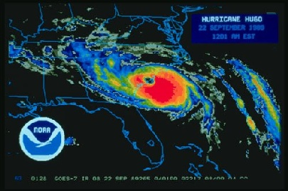 Satellite image of Hurricane Hugo, 22 September 1989.