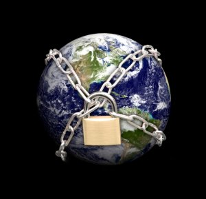 Earth with padlock around it