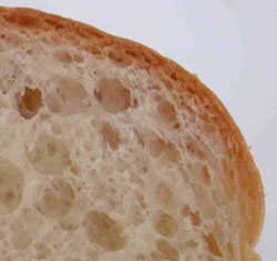 The crust on bread can be characterised by the increased density towards the surface.