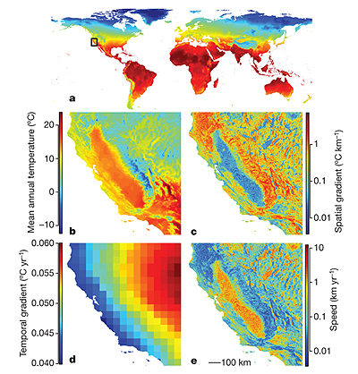 Maps of climate change speed