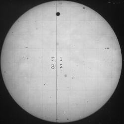 "Photograph taken of the 1882 transit - Venus is the large dark spot near the top of the sun. <br><font size=""-1"">Image from <a href=""http://www.nasa.gov"">NASA</a></font>"