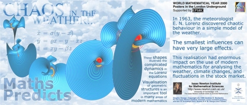 "Maths predicts - one of the ""Maths on the Tube"" posters featuring the Lorenz equations"