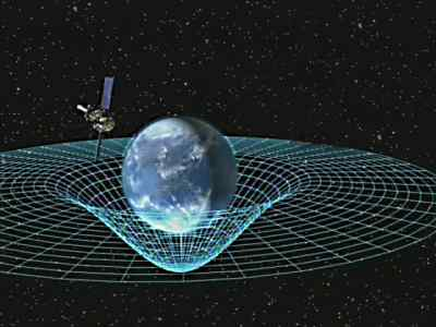 An artist's impression of Earth warping spacetime and GP-B. Image courtesy of the Marshall Space Flight Center.