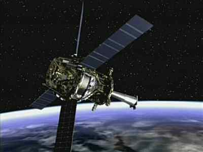 An artist's impression of GP-B orbiting Earth. Image courtesy of the Marshall Space Flight Center.