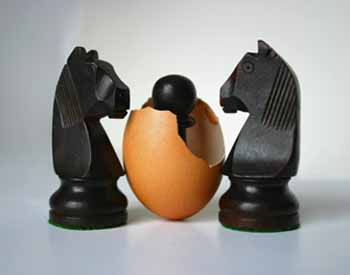 Two chess figures with offspring