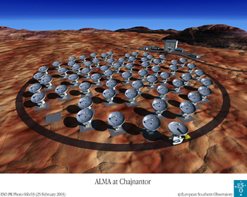Computer generated image of the Atacamer Large Millimeter Array