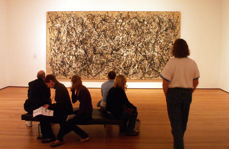 Jackson Pollock painting 'One: Number 31, 1950' at the Museum of Modern Art in New York. This photo was posted to wikipedia 5/1/2007 and is licensed under the Creative Commons Attribution-ShareAlike 2.5 License. See <a href='http://en.wikipedia.org/wiki/Image:Pollock31.jpg'>the image</a> for more information.