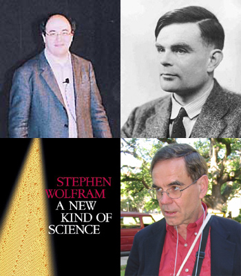 Clockwise from the top right — Alan Turing (photo from MacTutor), Vaughan Pratt (photo from andrej.com), </i>A New Kind of Science</i> by Stephen Wolfram, Stephen Wolfram (photo from The American Mathematical Society)