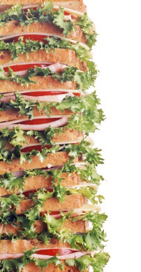 A tower of sandwiches