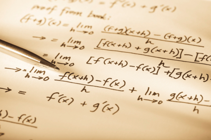 Mathematical formulae written on paper